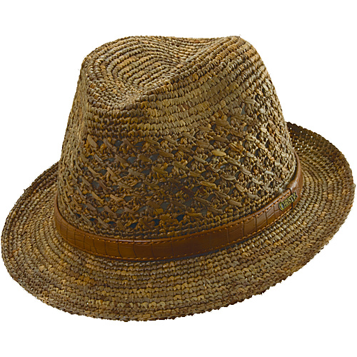 Scala Hats Crochet Raffia Fedora BROWN-LARGE - Scala Hats Hats