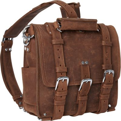 Vagabond Traveler 13 inch Tall Leather Laptop Backpack Brief Vintage Brown - Vagabond Traveler Non-Wheeled Business Cases