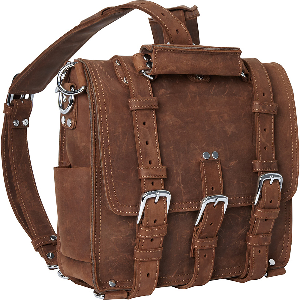 Vagabond Traveler 13 Tall Leather Laptop Backpack Brief Vintage Brown - Vagabond Traveler Non-Wheeled Business Cases - Work Bags & Briefcases, Non-Wheeled Business Cases