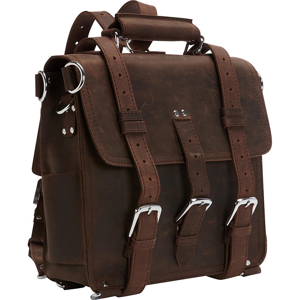 Vagabond Traveler 13 Tall Leather Laptop Backpack Brief Dark Brown - Vagabond Traveler Non-Wheeled Business Cases - Work Bags & Briefcases, Non-Wheeled Business Cases
