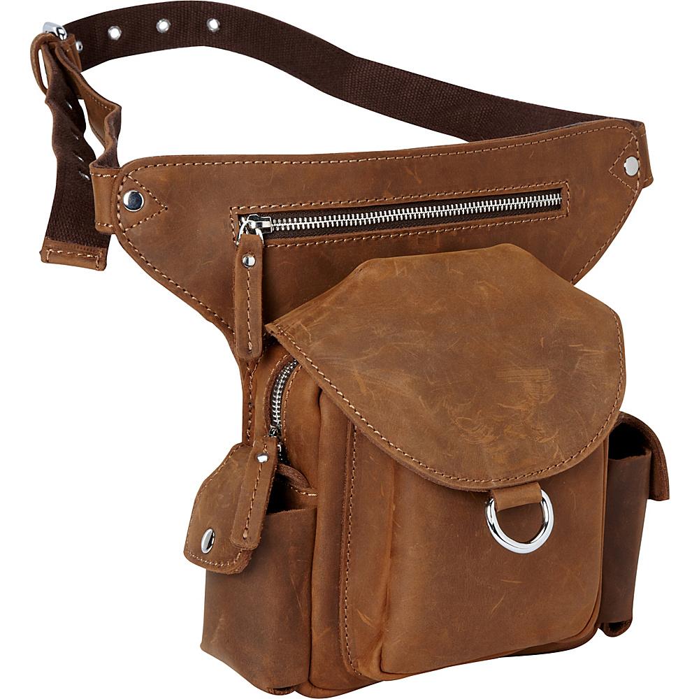 Vagabond Traveler 10 Leather Waist Pack Vintage Brown - Vagabond Traveler Waist Packs - Backpacks, Waist Packs