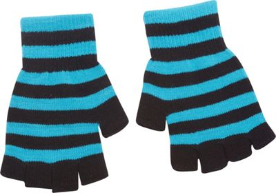 Magid Fingerless Striped Glove One Size - Turquoise/Black - Magid Hats/Gloves/Scarves