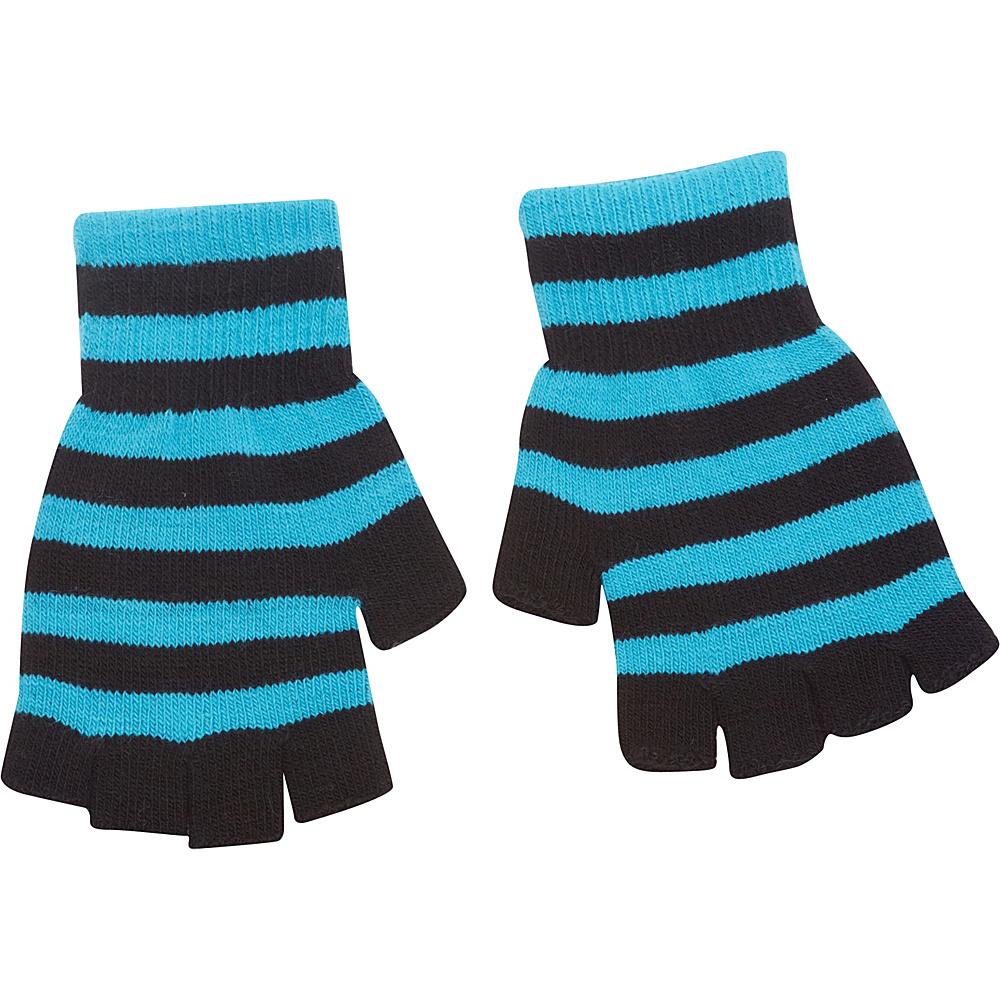 Magid Fingerless Striped Glove Turquoise Black Magid Hats Gloves Scarves