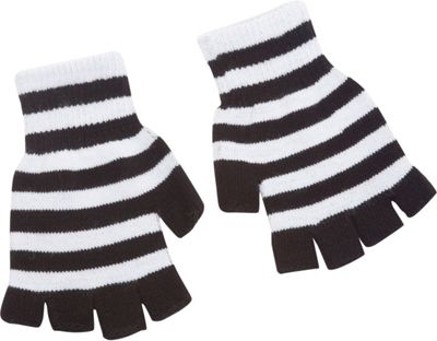Magid Fingerless Striped Glove One Size - White/Black - Magid Hats/Gloves/Scarves 10267886