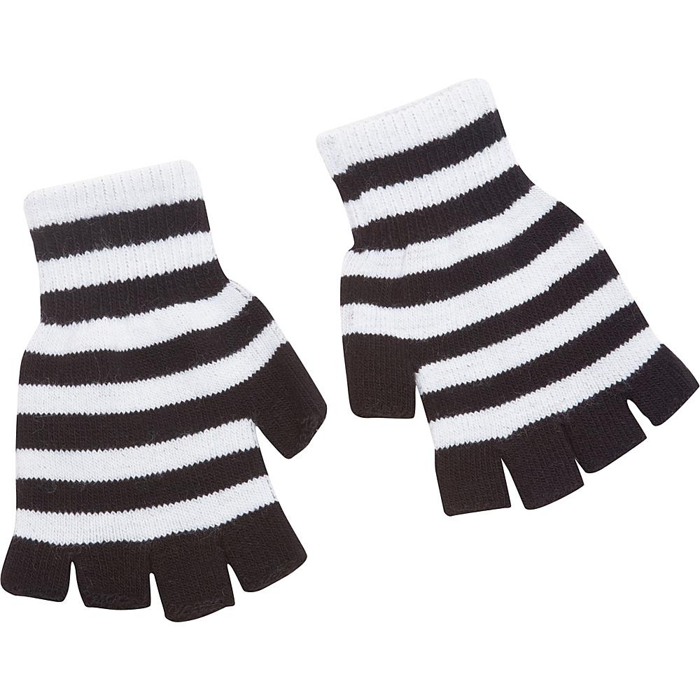 Magid Fingerless Striped Glove White Black Magid Hats Gloves Scarves