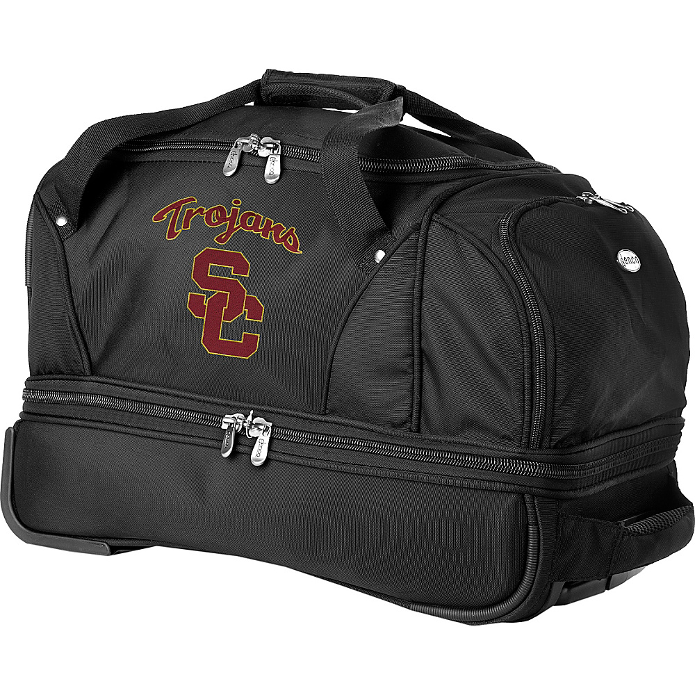 "Denco Sports Luggage NCAA University of Southern California (USC) Trojans 22"" Drop Bottom Wheeled Duffel Bag Black - Denco Sports Luggage Travel Duffels"