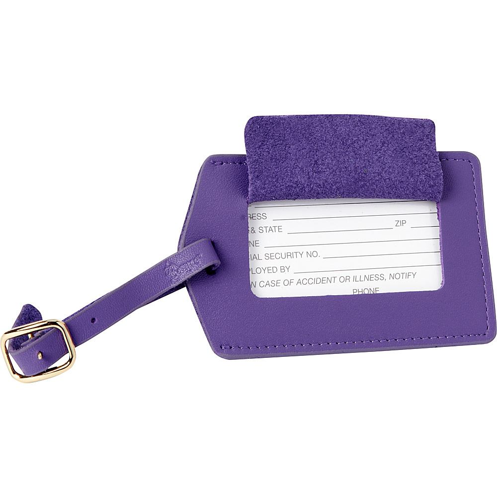 Royce Leather Top Grain Nappa Leather Luggage Tag Purple - Royce Leather Luggage Accessories - Travel Accessories, Luggage Accessories