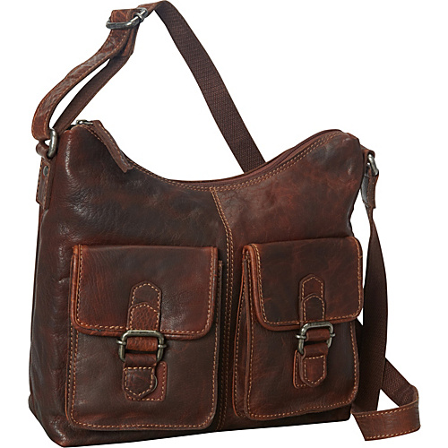 Jack Georges Spikes & Sparrow Collection Hobo Bag w/Front Pockets Brown - Jack Georges Leather Handbags