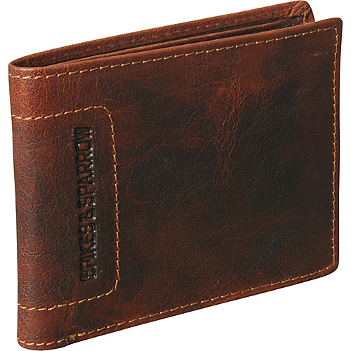 Jack Georges Spikes & Sparrow Collection Bi-Fold w/Flap Brown - Jack Georges Mens Wallets