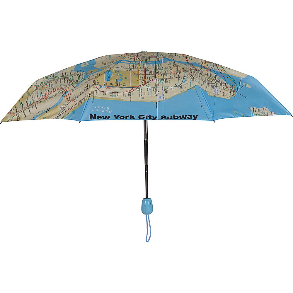 Leighton Umbrellas NYC Subway Map Auto Open and Close black multi Leighton Umbrellas Umbrellas and Rain Gear