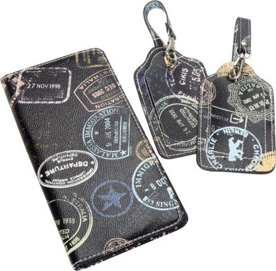 Sydney Love Bon Voyage Passport Holder and 2 piece Boxed Luggage Tags Black - Sydney Love Travel Wallets