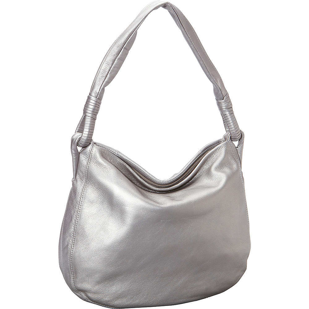 Derek Alexander Inset Top Zip Hobo Silver/Metallic - Derek Alexander Leather Handbags - Handbags, Leather Handbags