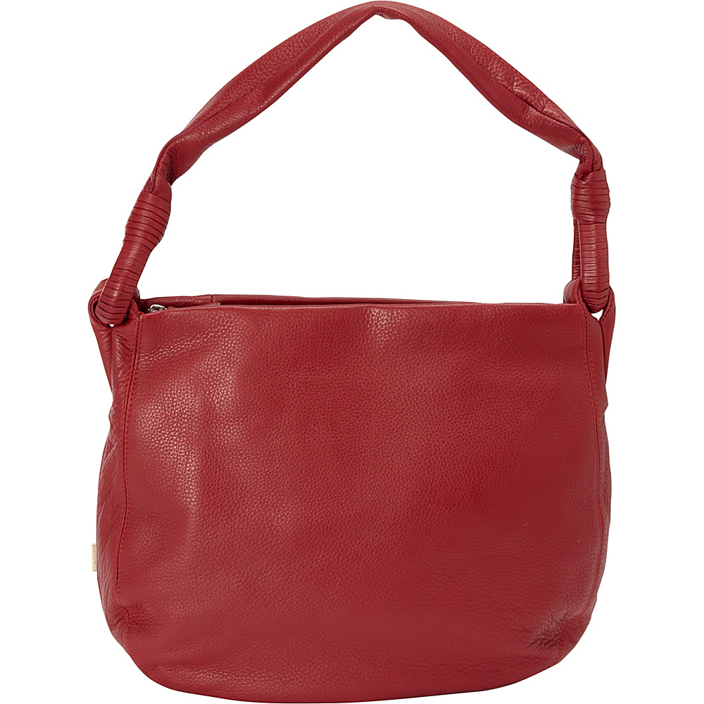 Derek Alexander Inset Top Zip Hobo Red Derek Alexander Leather Handbags