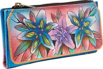 Anuschka Organizer Wallet/ Clutch Luscious Lilies Denim - Anuschka Women's Wallets