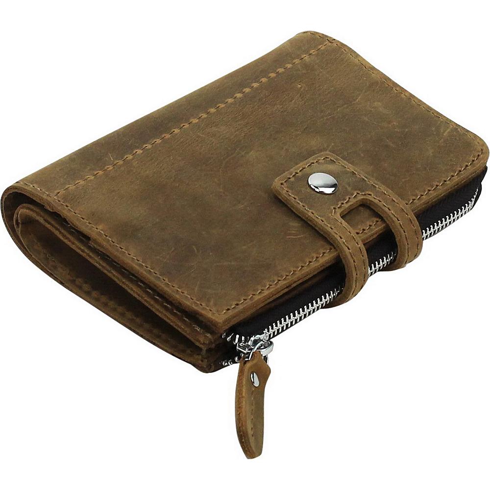 Vagabond Traveler Clutch Passport Card Cash Zipper Holder Vintage Brown - Vagabond Traveler Travel Wallets - Travel Accessories, Travel Wallets