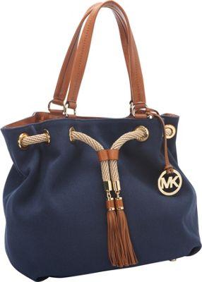 MICHAEL Michael Kors Marina Large Gathered Tote Handbag Navy - MICHAEL Michael Kors Designer Handbags