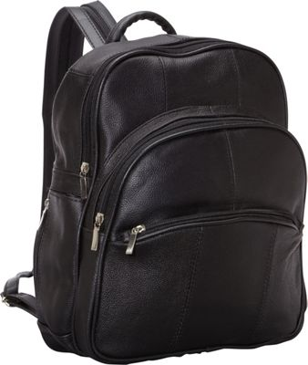 R & R Collections Leather Triple Zip Around Large Backpack Black - R & R Collections Leather Handbags