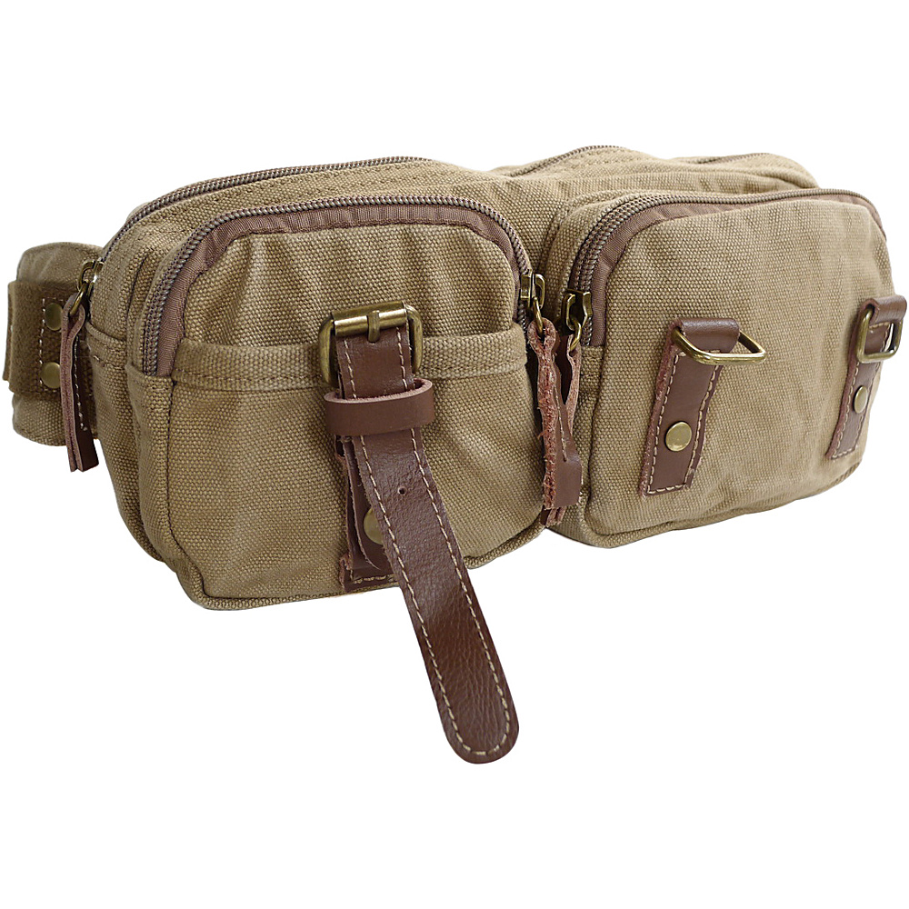 Vagabond Traveler Stylish 10 Canvas Waist Bag Khaki - Vagabond Traveler Waist Packs - Backpacks, Waist Packs