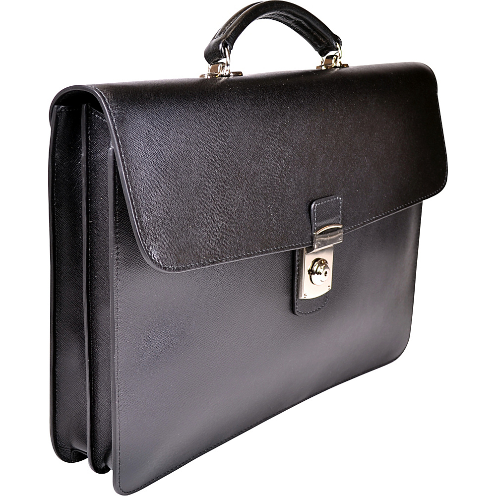 Royce Leather Kensington Single Gusset Briefcase Black - Royce Leather Non-Wheeled Business Cases - Work Bags & Briefcases, Non-Wheeled Business Cases