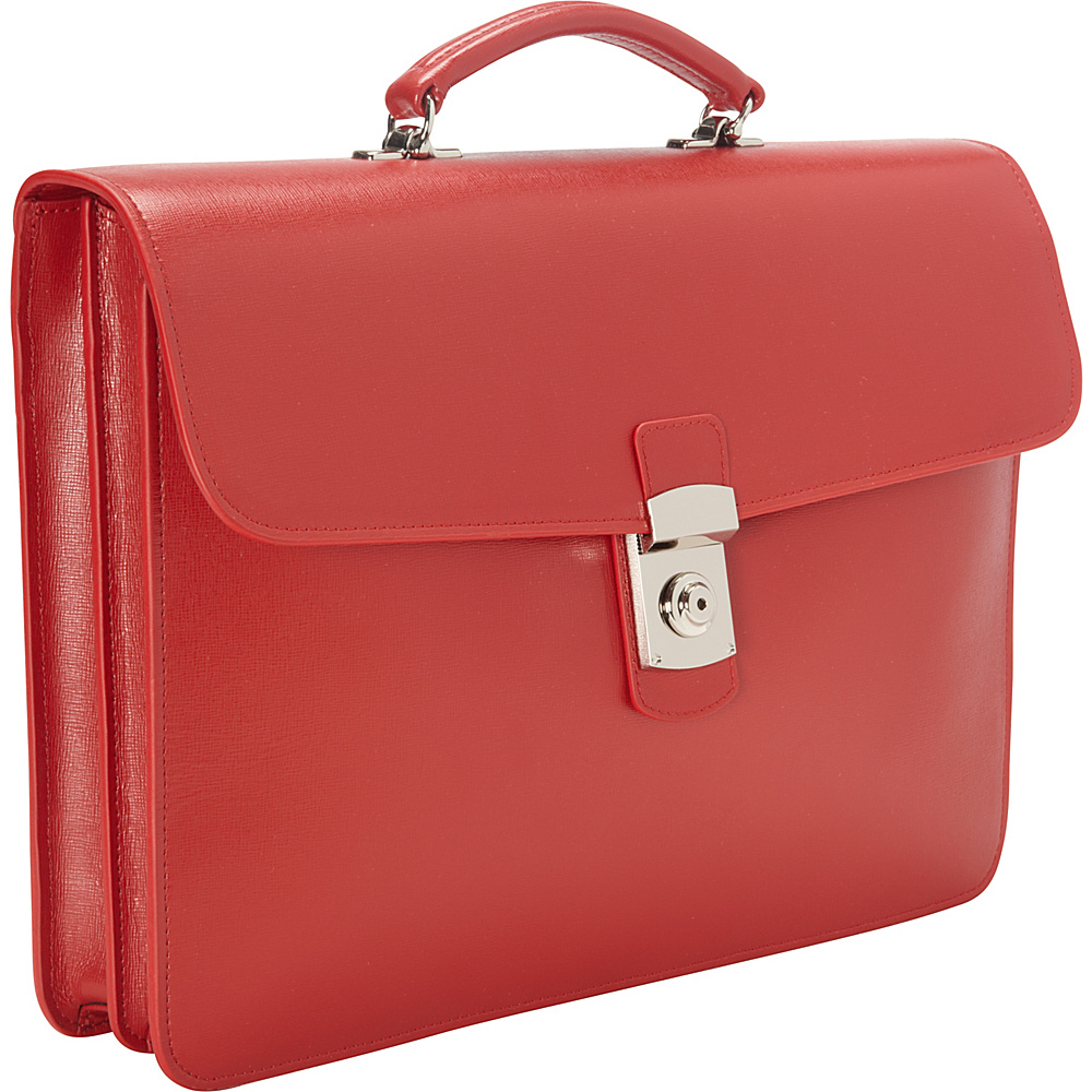 Royce Leather Kensington Single Gusset Briefcase Red - Royce Leather Non-Wheeled Business Cases