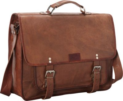 Sharo Leather Bags Wide Laptop Messenger and Brief Bag Brown - Sharo Leather Bags Non-Wheeled Business Cases