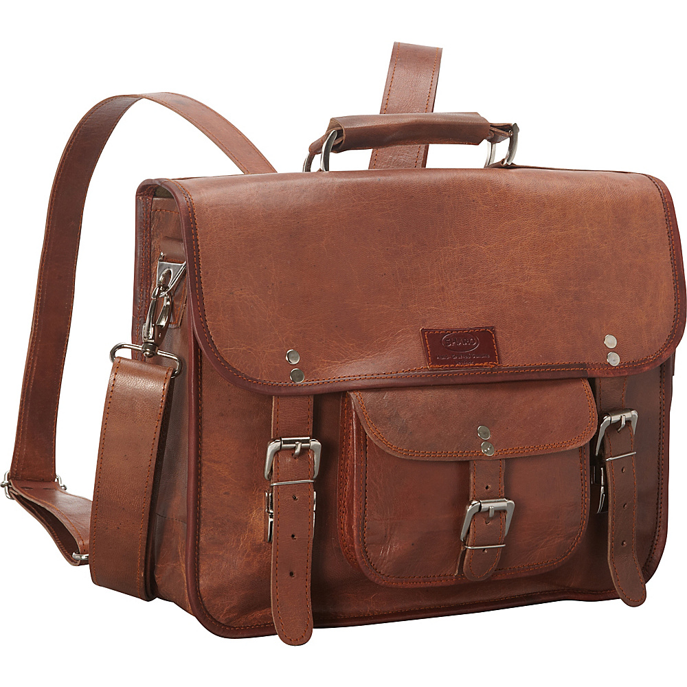 Sharo Leather Bags Wide Three-in-One Backpack/Brief/Messenger Brown - Sharo Leather Bags Non-Wheeled Business Cases