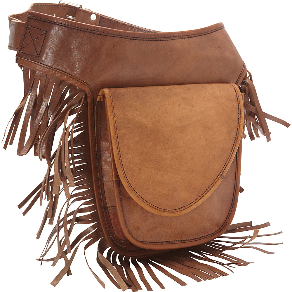 Sharo Leather Bags Leather Fringed Adjustable Hip Bag Brown Sharo Leather Bags Waist Packs