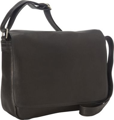 Royce Leather Vaquetta Shoulder Bag with Flap Black - Royce Leather Leather Handbags