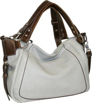 Punto Uno East West Satchel with Detachable Cross Body Strap Stone - Punto Uno Manmade Handbags