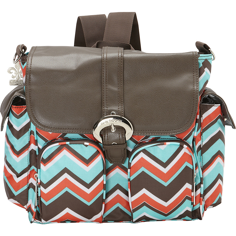 Kalencom Matte Coated Double Duty Diaper Backpack Chevron Stripes Coral - Kalencom Diaper Bags & Accessories