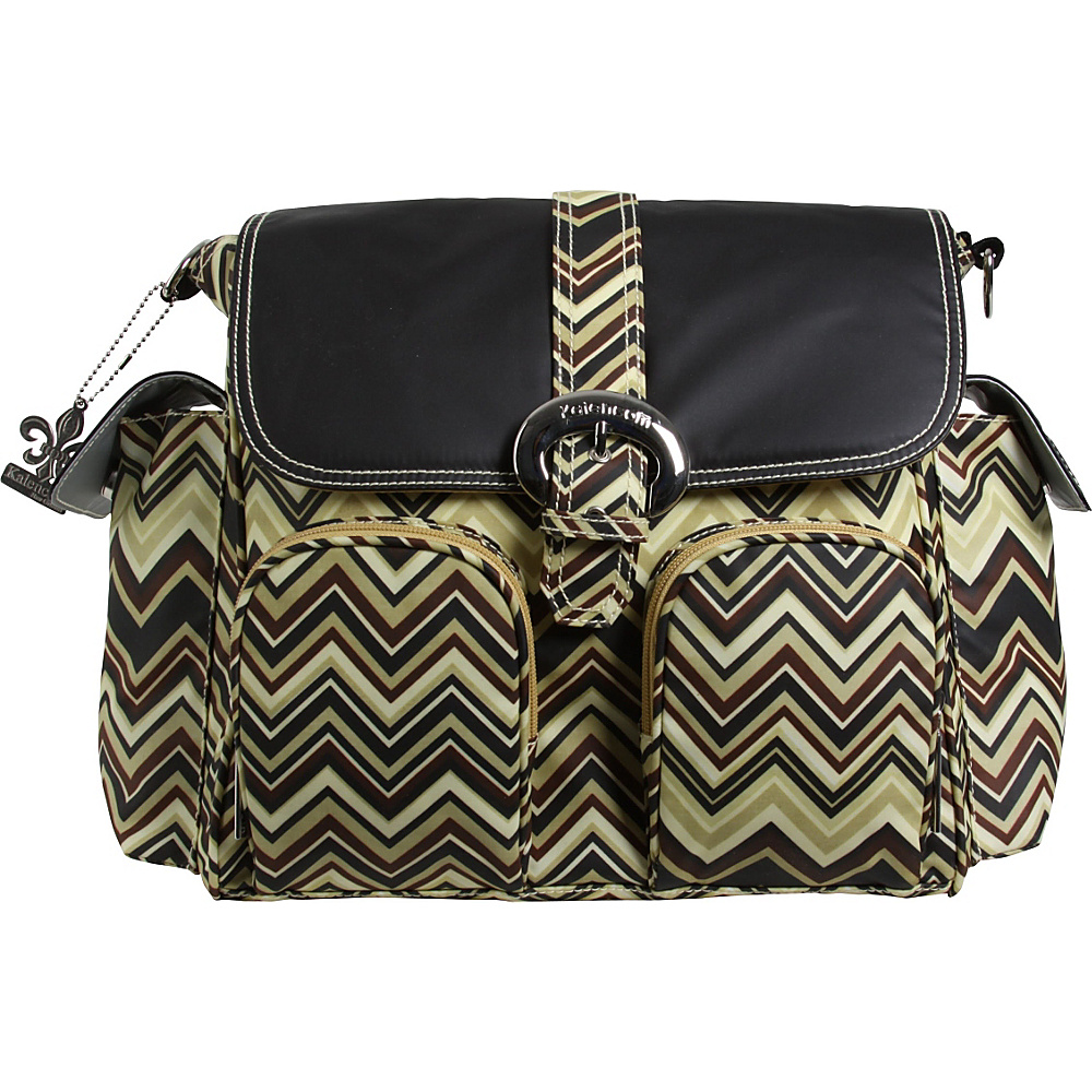 Kalencom Matte Coated Double Duty Diaper Backpack Zig Zag - Black/Brown - Kalencom Diaper Bags & Accessories