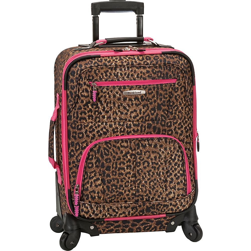 "Rockland Luggage Mariposa 19"" Expandable Spinner Carry On Pink Leopard - Rockland Luggage Softside Carry-On"