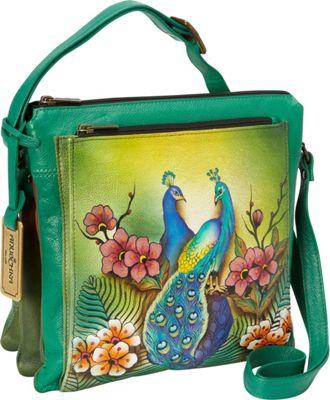 Anuschka Multi Compartment Saddle Bag Passionate Peacocks - Anuschka Leather Handbags