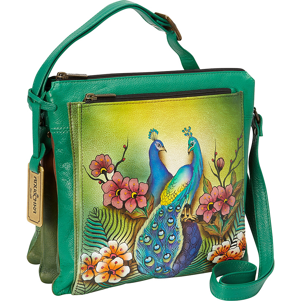 Anuschka Multi Compartment Saddle Bag Passionate Peacocks - Anuschka Leather Handbags