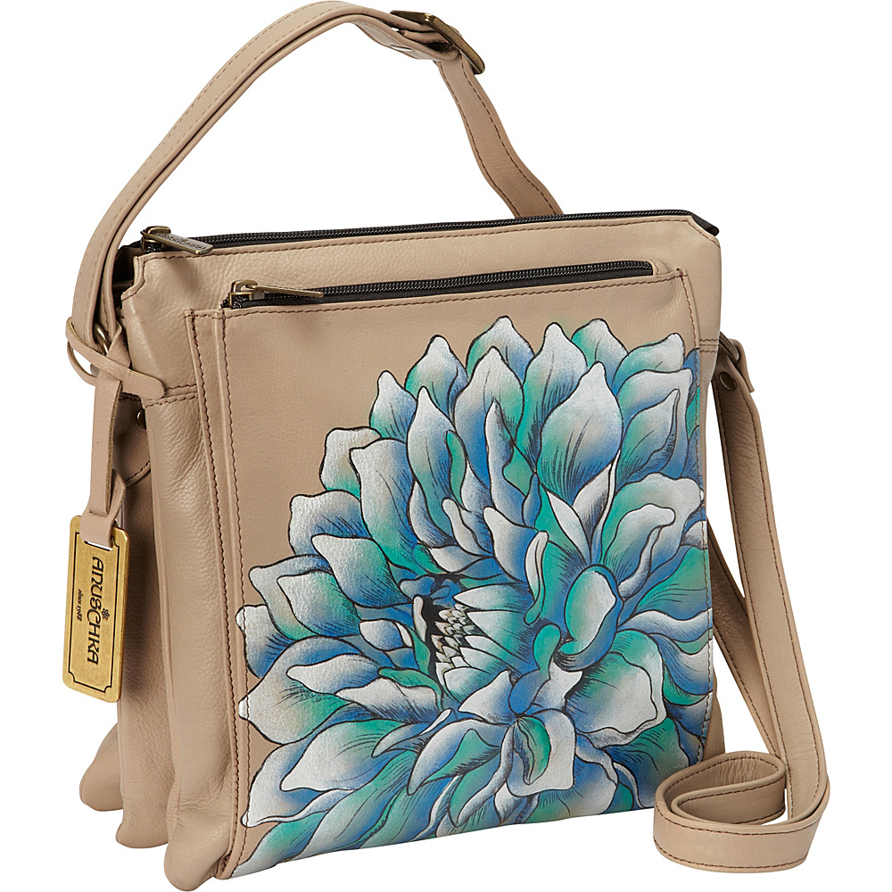 Anuschka Multi Compartment Saddle Bag Dreamy Dahlias - Anuschka Leather Handbags