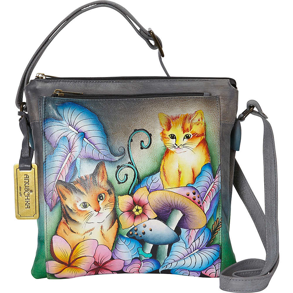 Anuschka Multi Compartment Saddle Bag Cats in Wonderland - Anuschka Leather Handbags