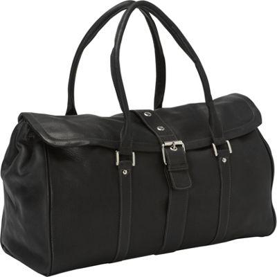 Piel Buckle Flap-Over Duffel Bag Black - Piel Rolling Duffels