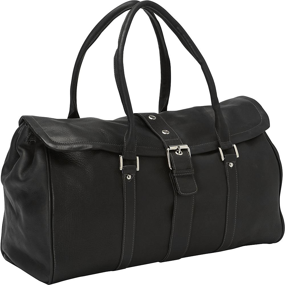 Piel Buckle Flap-Over Duffel Bag Black - Piel Rolling Duffels - Luggage, Rolling Duffels