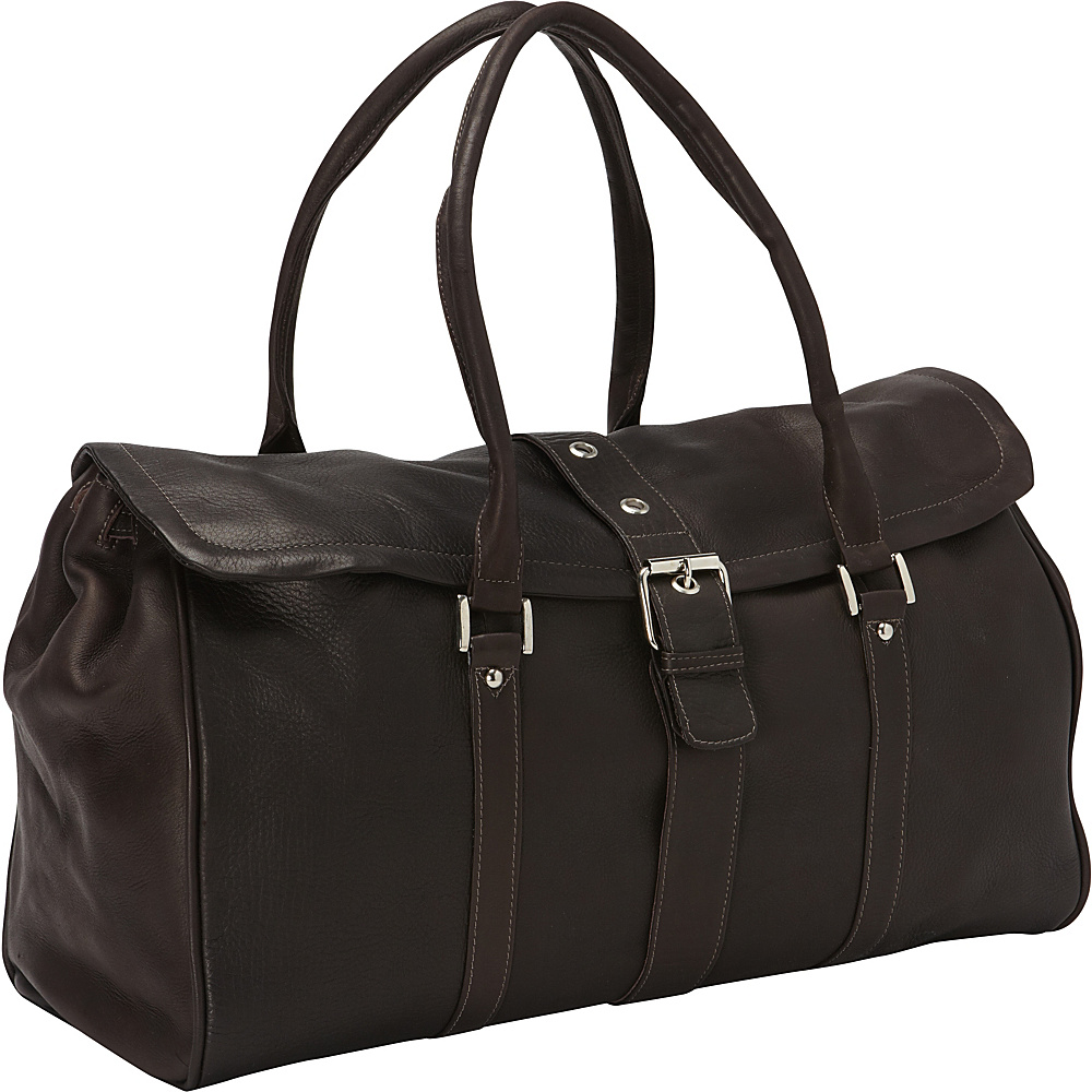 Piel Buckle Flap-Over Duffel Bag Chocolate - Piel Rolling Duffels - Luggage, Rolling Duffels