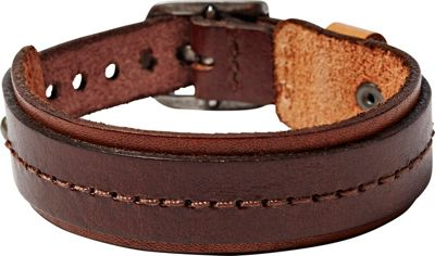 Fossil Stitched Leather Bracelet Brown - Fossil Other Fashion Accessories