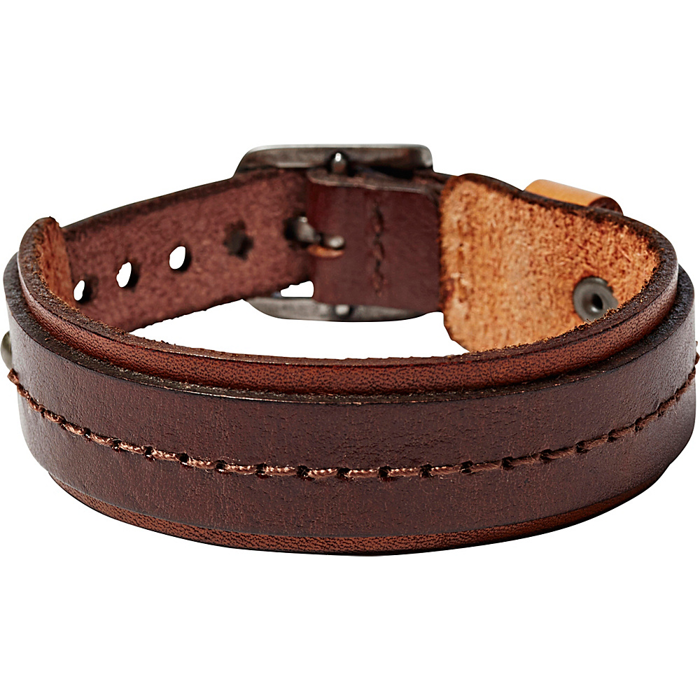 Fossil Stitched Leather Bracelet Brown Fossil Other Fashion Accessories