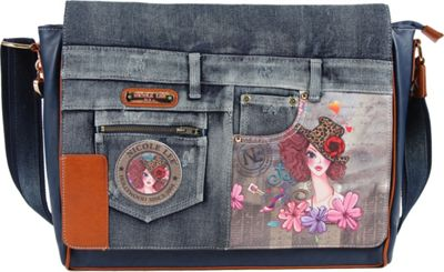 Nicole Lee Wanda Denim Print Computer Messenger Bag Sunny - Nicole Lee Messenger Bags