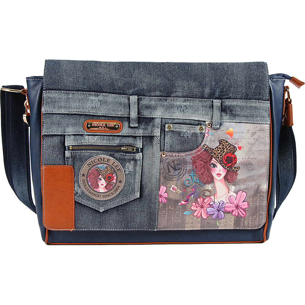 Nicole Lee Wanda Denim Print Computer Messenger Bag Sunny Nicole Lee Messenger Bags