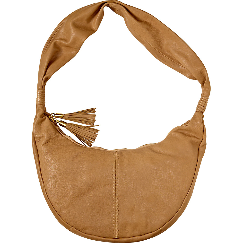 Clava Carmel Whipstitch Hobo Beige - Clava Leather Handbags