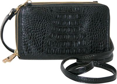 Image of Adrienne Landau Double Zip Cross Body Black - Adrienne Landau Manmade Handbags
