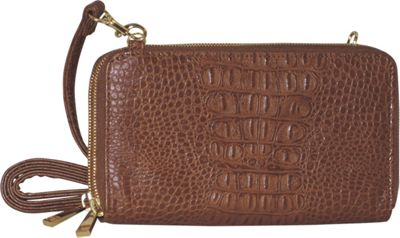 Adrienne Landau Double Zip Cross Body Brown - Adrienne Landau Manmade Handbags