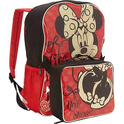 Disney Minnie Mouse Backpack with Lunch Box Red - Disney School & Day Hiking Backpacks