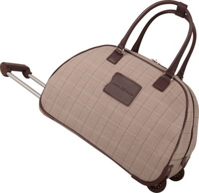 "Image of Anne Klein Luggage Calgary 20"" Wheeled Bowler Bag Brown/Cream/Dark Brown - Anne Klein Luggage Small Rolling Luggage"