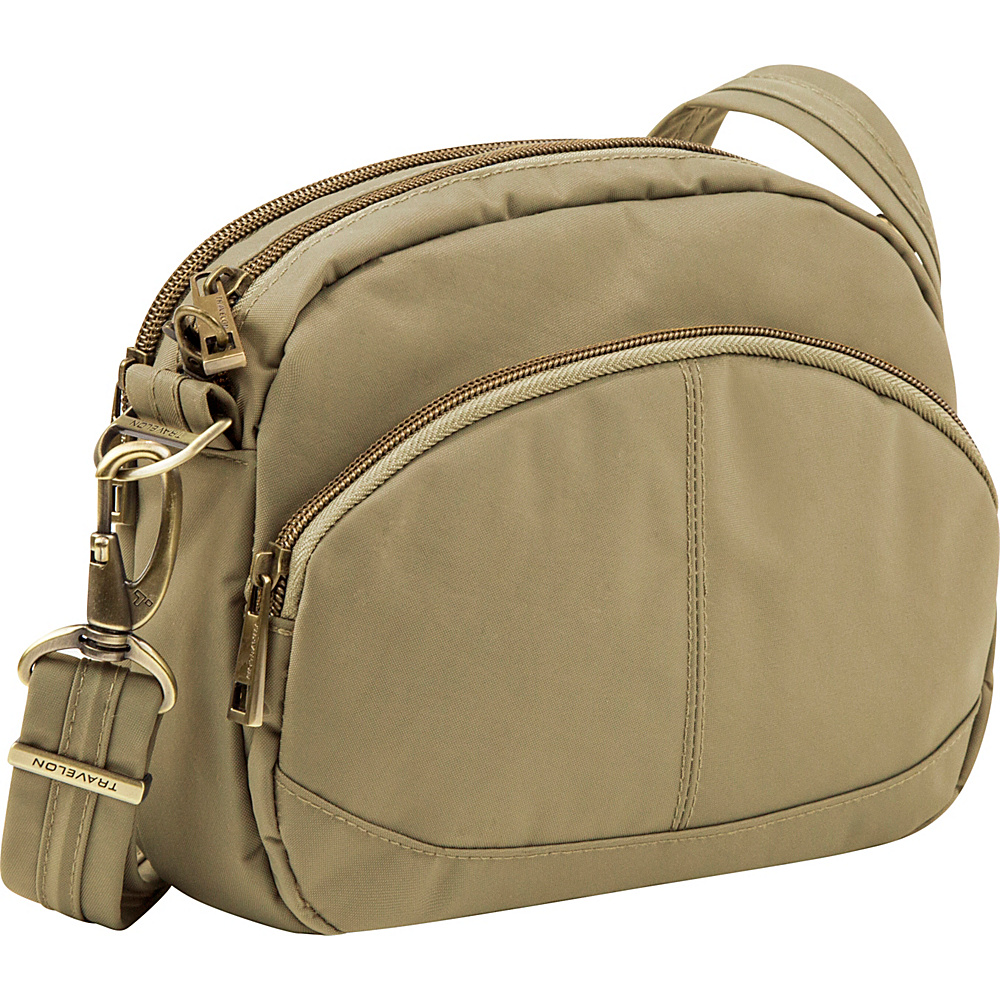 Travelon Anti-Theft Signature E/W Shoulder Bag Khaki - Travelon Fabric Handbags - Handbags, Fabric Handbags