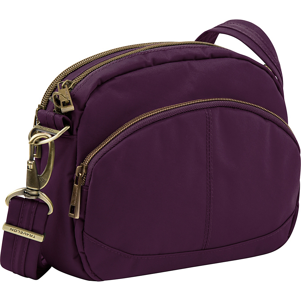 Travelon Anti-Theft Signature E/W Shoulder Bag Dark Bordeaux/Sand - Travelon Fabric Handbags - Handbags, Fabric Handbags